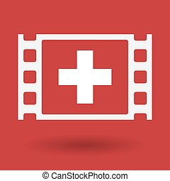 Isolated celluloid film frame icon with the Swiss flag -...