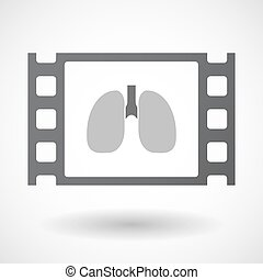Isolated celluloid film frame icon with a healthy human lung...
