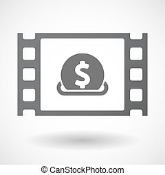 Isolated celluloid film frame icon with a dollar coin...