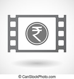 Isolated celluloid film frame icon with a rupee coin icon -...
