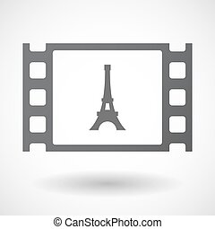 Isolated celluloid film frame icon with the Eiffel tower -...
