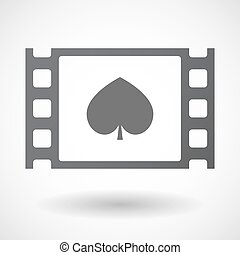 Isolated celluloid film frame icon with the spade poker...