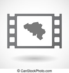 Isolated celluloid film frame icon with the map of Belgium -...