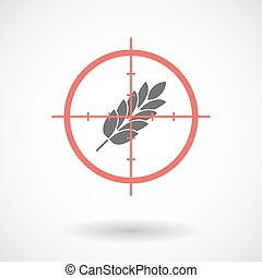 Isolated line art crosshair icon with a wheat plant icon -...