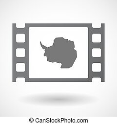Isolated celluloid film frame icon with the map of...