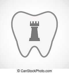 Isolated line art tooth icon with a rook chess figure -...