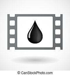 Isolated celluloid film frame icon with an oil drop icon -...