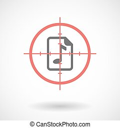 Isolated line art crosshair icon with a music score icon -...
