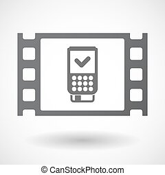 Isolated celluloid film frame icon with a dataphone icon -...