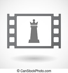 Isolated celluloid film frame icon with a queen chess figure...