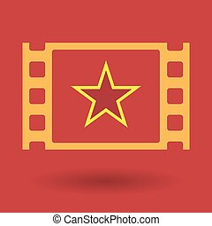 Isolated celluloid film frame icon with the red star of...