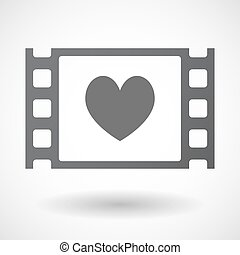 Isolated celluloid film frame icon with the heart poker...
