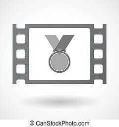 Isolated celluloid film frame icon with a medal -...