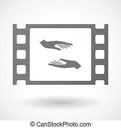 Isolated celluloid film frame icon with two hands giving and...