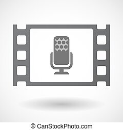 Isolated celluloid film frame icon with a microphone sign -...