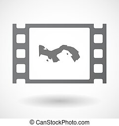 Isolated celluloid film frame icon with the Panama map -...