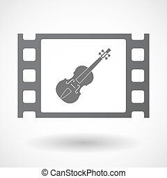 Isolated celluloid film frame icon with a violin -...