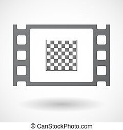 Isolated celluloid film frame icon with a chess board -...