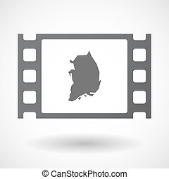 Isolated celluloid film frame icon with the map of South...