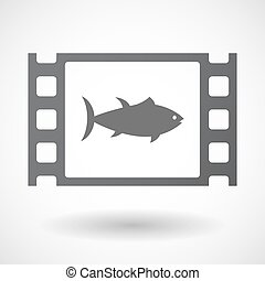 Isolated celluloid film frame icon with a tuna fish -...