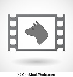 Isolated celluloid film frame icon with a dog head -...