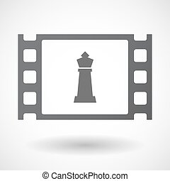 Isolated celluloid film frame icon with a king chess figure...