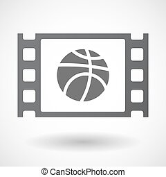 Isolated celluloid film frame icon with a basketball ball -...