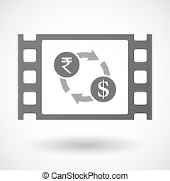 Isolated celluloid film frame icon with a rupee and dollar...
