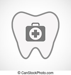Isolated line art tooth icon with  a first aid kit icon