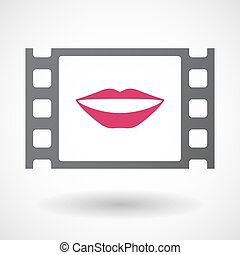 Isolated celluloid film frame icon with a female mouth...