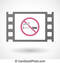 Isolated celluloid film frame icon with a no smoking sign -...