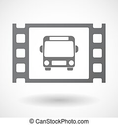 Isolated celluloid film frame icon with a bus icon -...