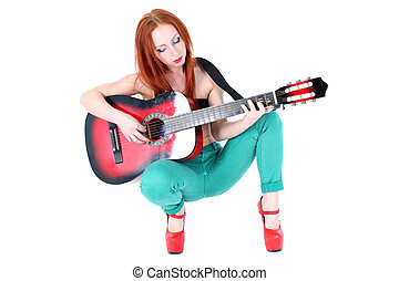 Woman play with guitar
