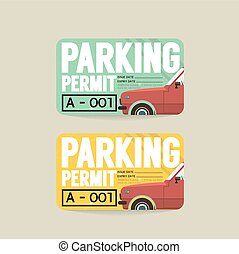 Parking Permit Card Vector Illustration