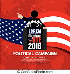 Political Campaign Banner Vector Illustration
