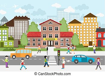 Children going to school on a busy city street. School and...