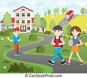 Group of Student Going to School - Two boys and a girl with...
