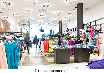 modern clothes shop - interior of the modern clothes shop....