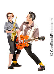 musical duo - Guitarist and saxophonist duo in the style of...