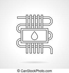 Water underfloor heating flat line vector icon - Water...