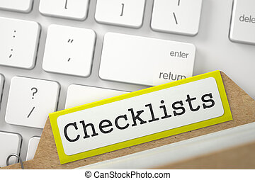 File Card with Inscription Checklists. - Checklists. Yellow...