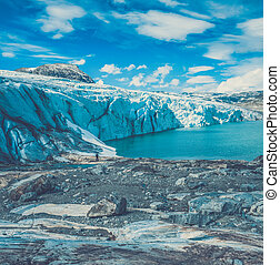 Scenic view of Jostedalsbreen glacier. Norway