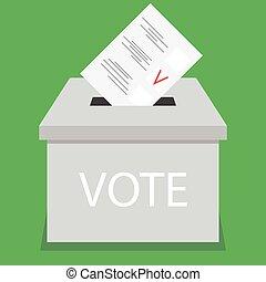 Ballot box design flat vote. Vote and ballot, election and...