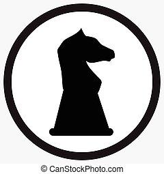 Chess horse icon monochrome black white
