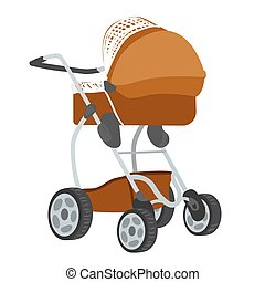 Colorful illustration of baby stroller - Vector colorful...
