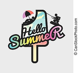 Hello Summer Popsicle Vector Illustration