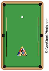 Pool table with balls and cue
