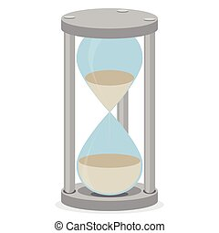 Sand glass isolated. Time clock and hourglass icon,...