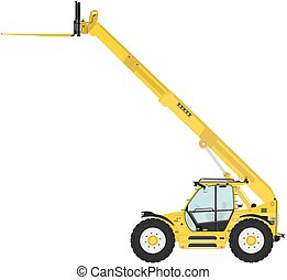 Telescopic handler equipped with fork on a white background....