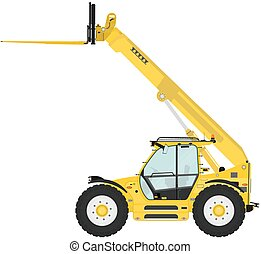 Telescopic handler equipped with fork on a white background...